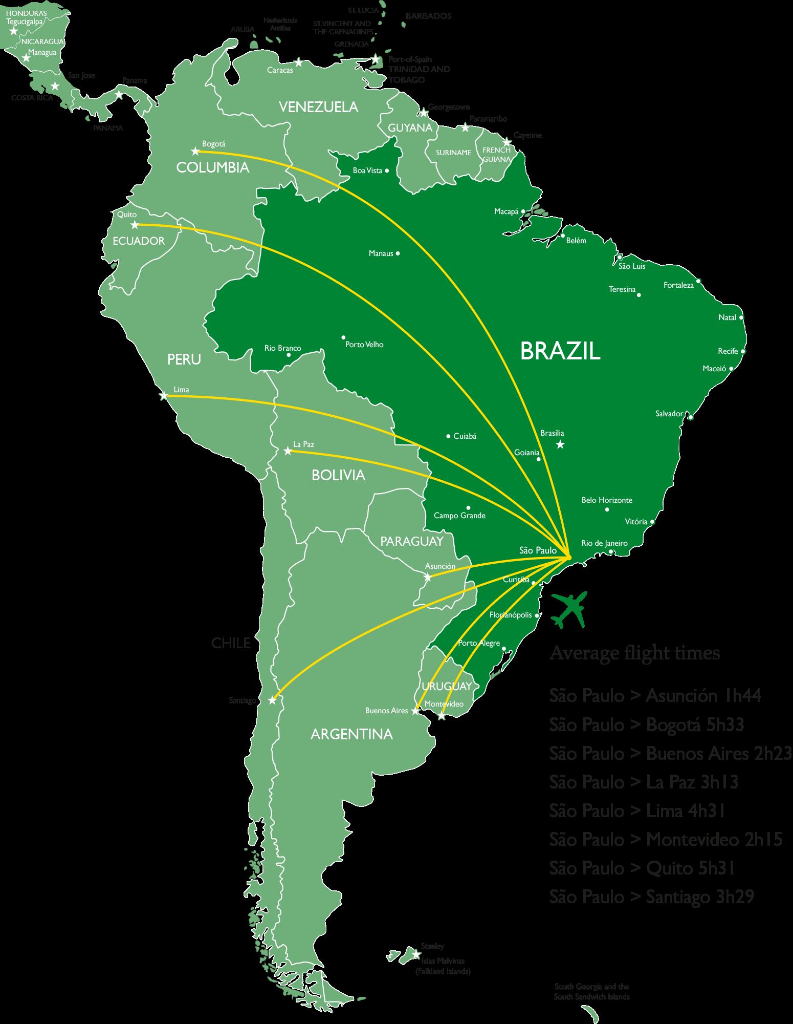 Latin American Travel Map